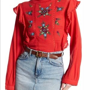 Free People Long Sleeve Red Embroidered Shirt XS